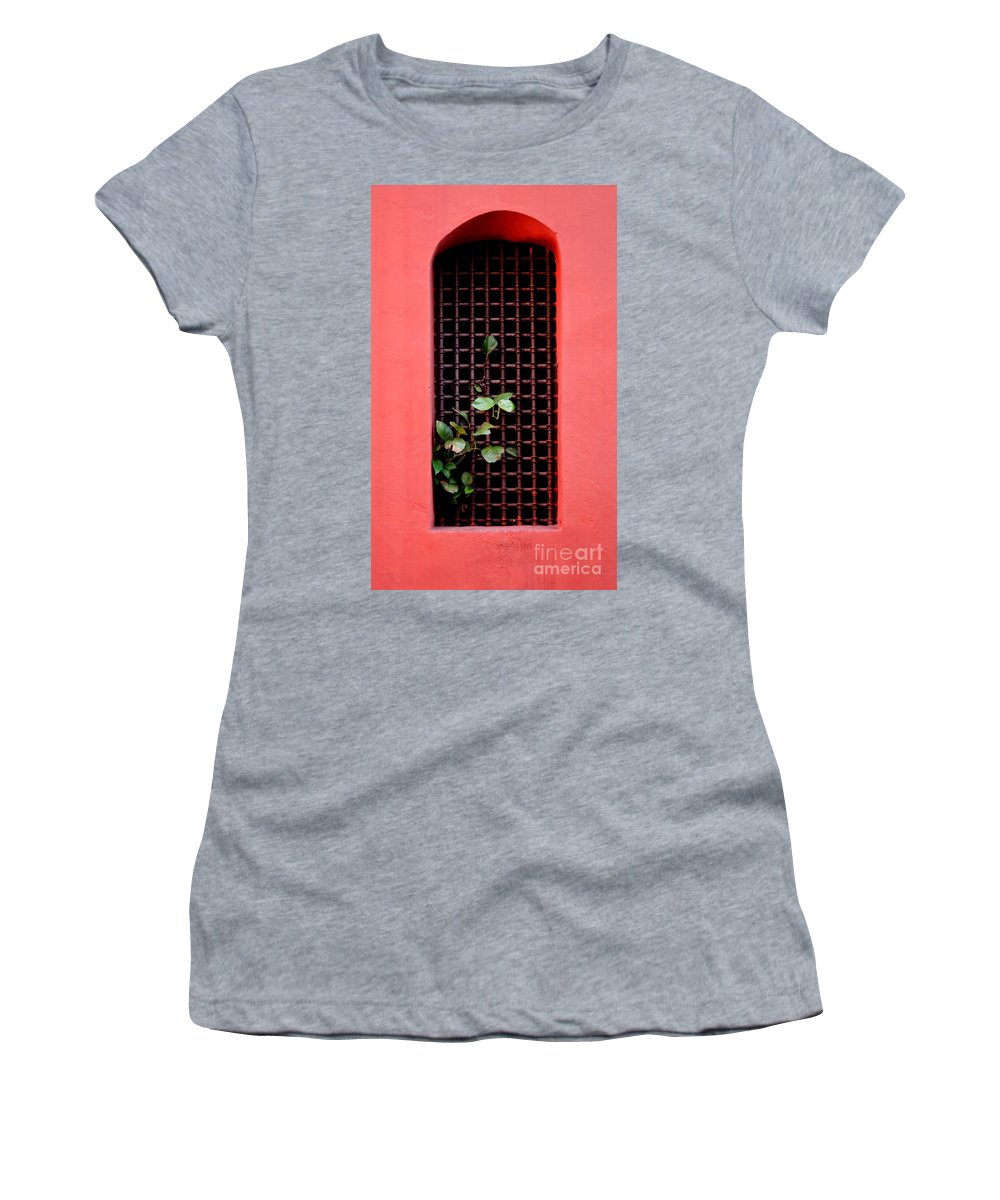 Windo Women's T-Shirt featuring the photograph Pink Window In Cartegena by Thomas Marchessault