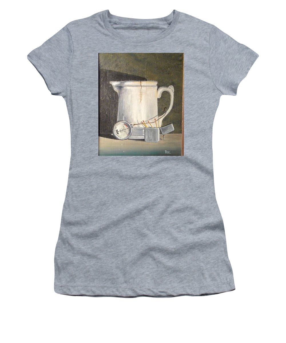 Still Life Women's T-Shirt featuring the painting Pitcher, Meter And Matches Still Life by John Dix