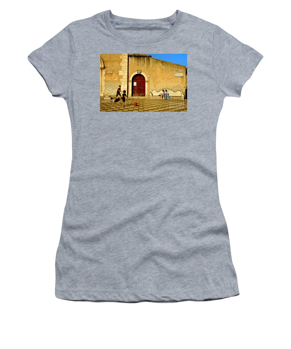 Antique Women's T-Shirt featuring the photograph Playing In Taormina by Silvia Ganora