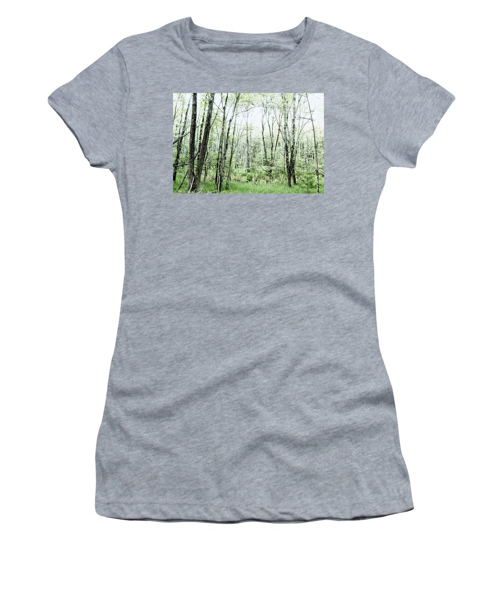 Woods Women's T-Shirt featuring the photograph Pleasure Of Pathless Woods - Alt by Belinda Greb
