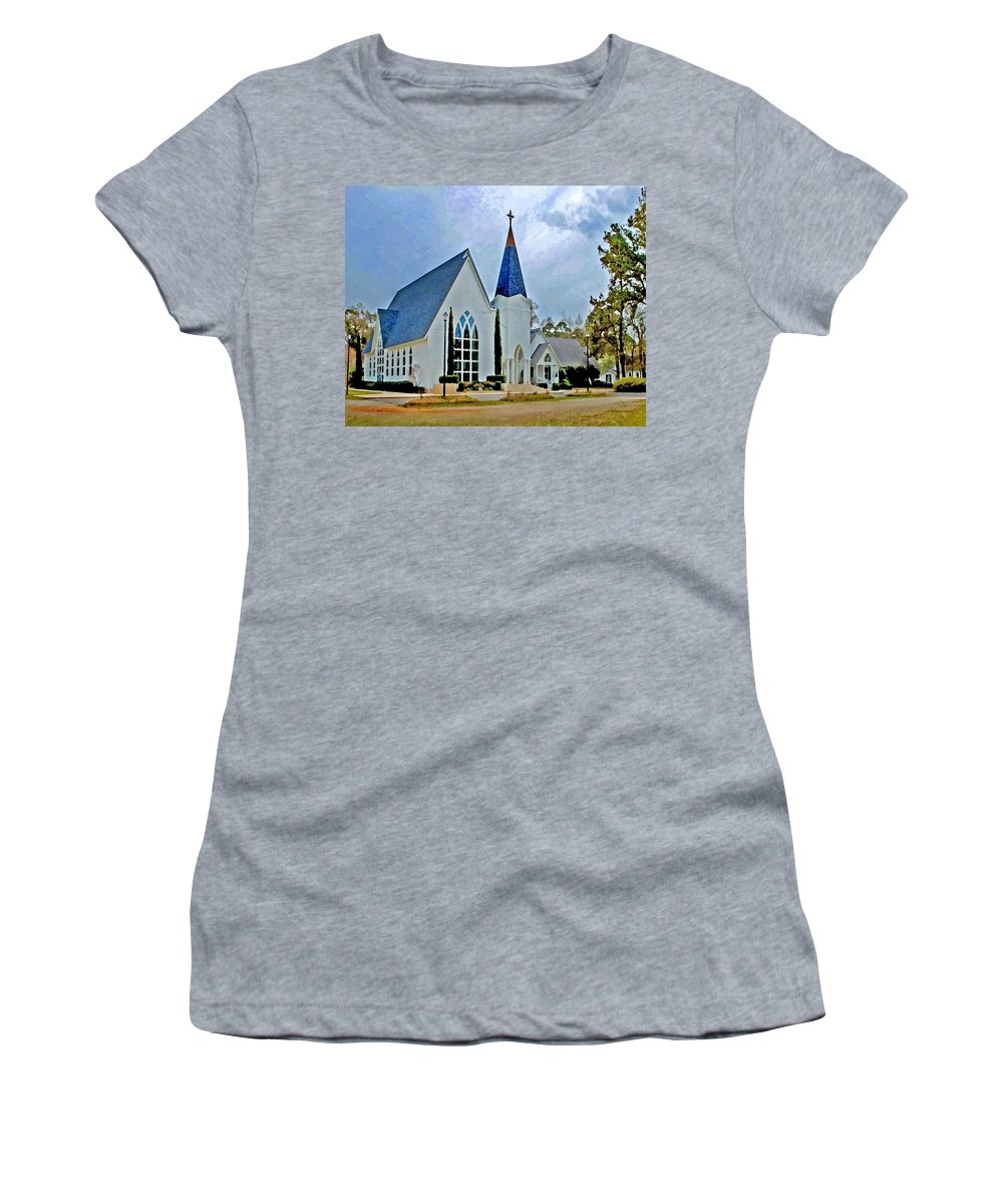 Church Women's T-Shirt (Athletic Fit) featuring the painting Point Clear Alabama St. Francis Church by Michael Thomas