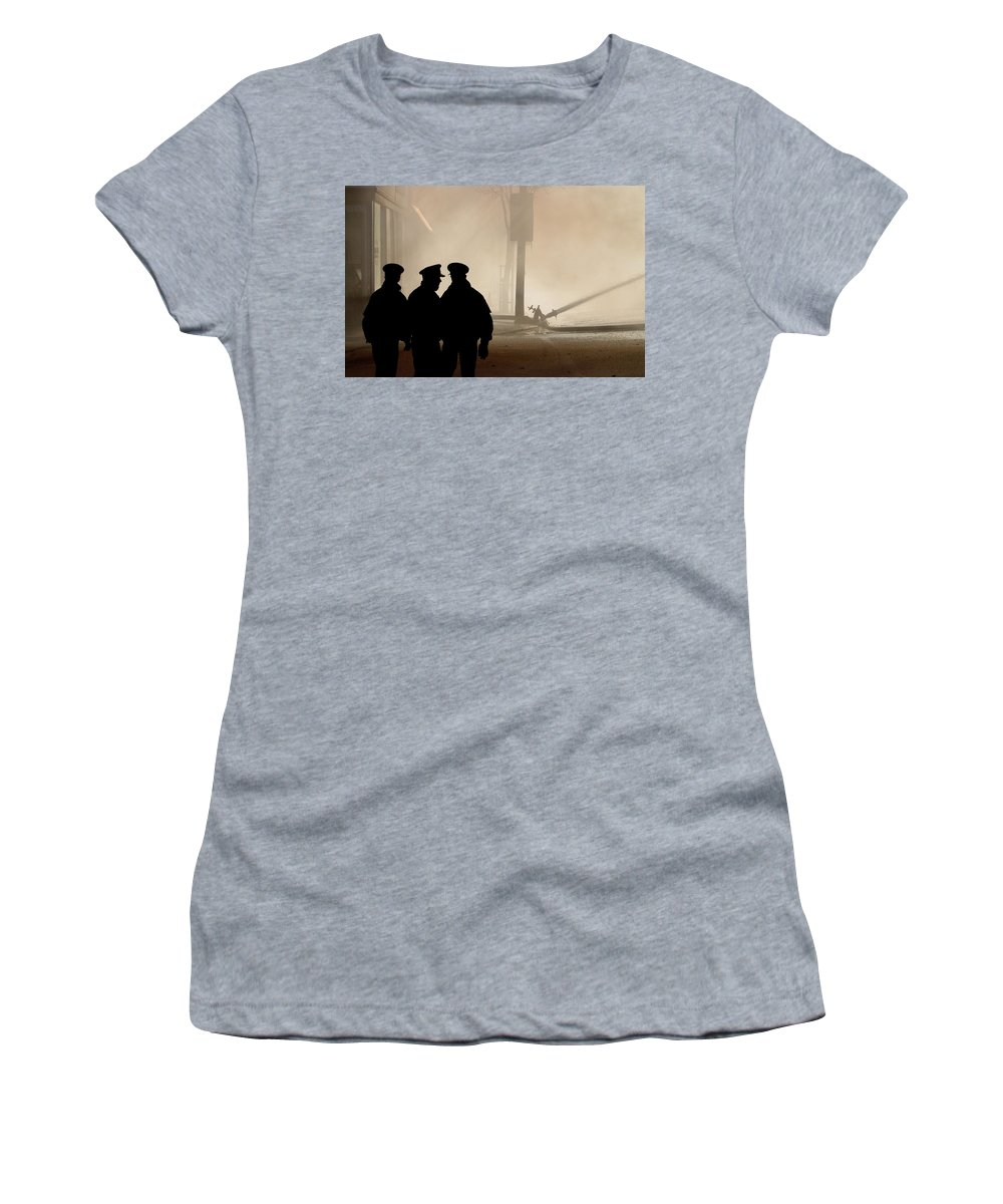 Three Women's T-Shirt featuring the digital art Police Watching Firefighters During Moose Jaw New Years Fire by Mark Duffy