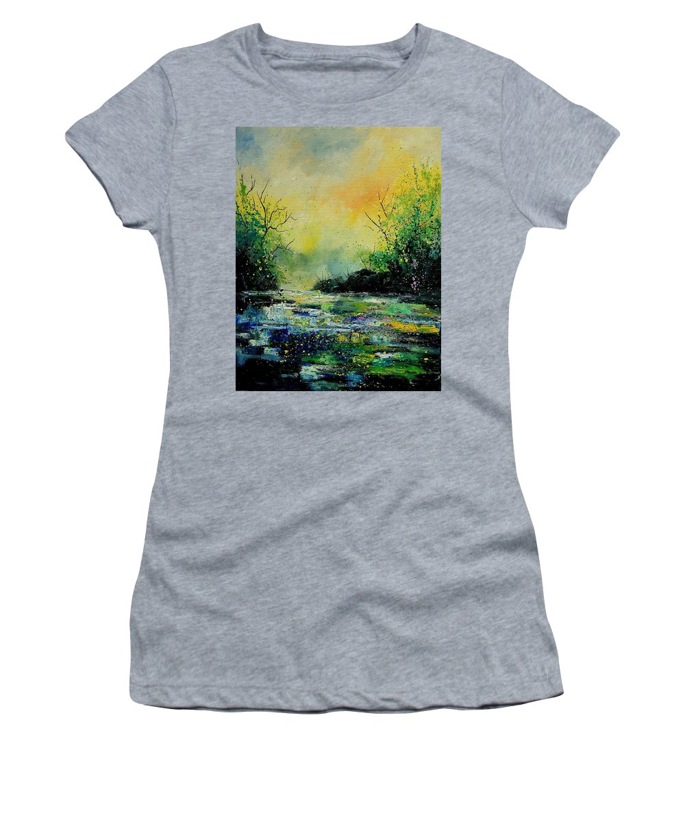 Water Women's T-Shirt featuring the painting Pond 459060 by Pol Ledent