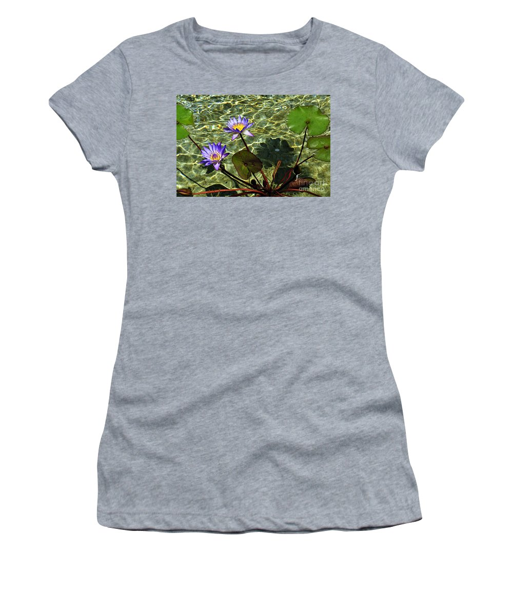 Clay Women's T-Shirt (Athletic Fit) featuring the photograph Pond Florals by Clayton Bruster