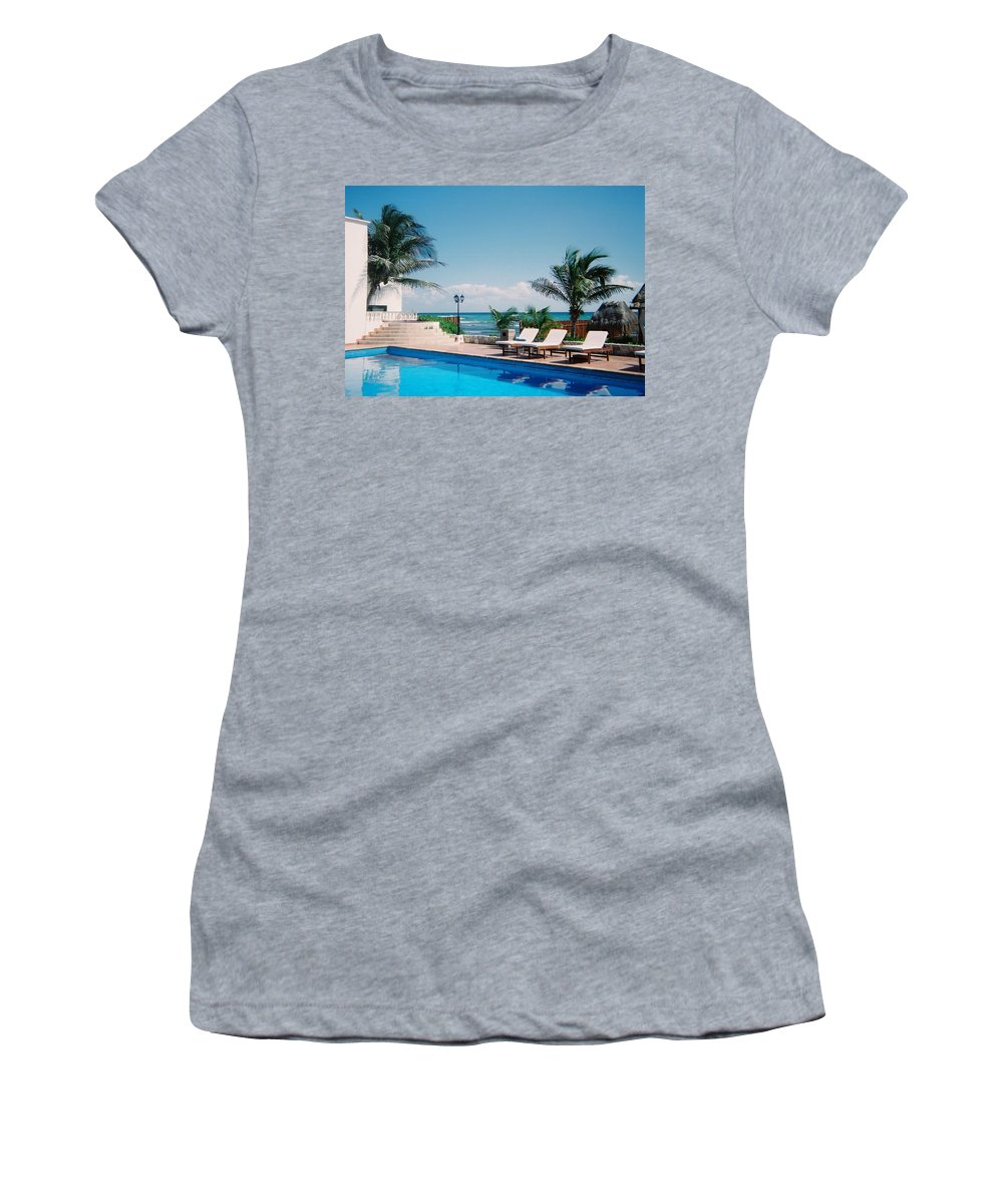 Resort Women's T-Shirt (Athletic Fit) featuring the photograph Poolside by Anita Burgermeister