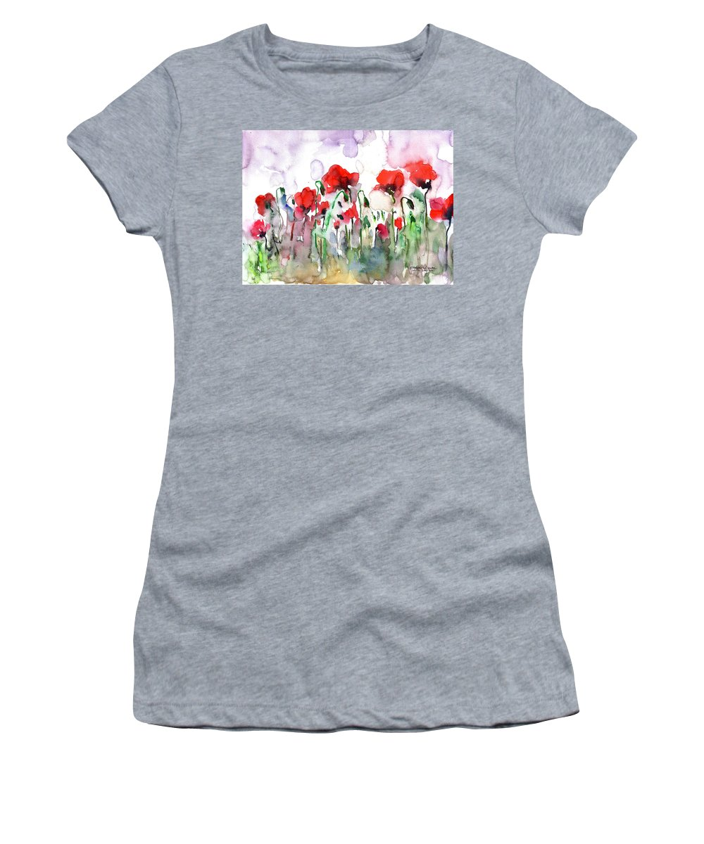 Poppies Women's T-Shirt (Athletic Fit) featuring the painting Poppies by Faruk Koksal