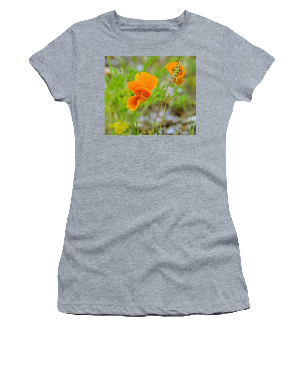 Wildflowers Women's T-Shirt (Athletic Fit) featuring the photograph Poppies In The Wind by Jeff Swan