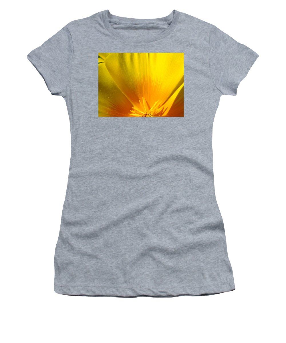 �poppies Artwork� Women's T-Shirt (Athletic Fit) featuring the photograph Poppies Orange Poppy Flower Close Up 2 Sunlit Poppy Baslee Troutman by Baslee Troutman