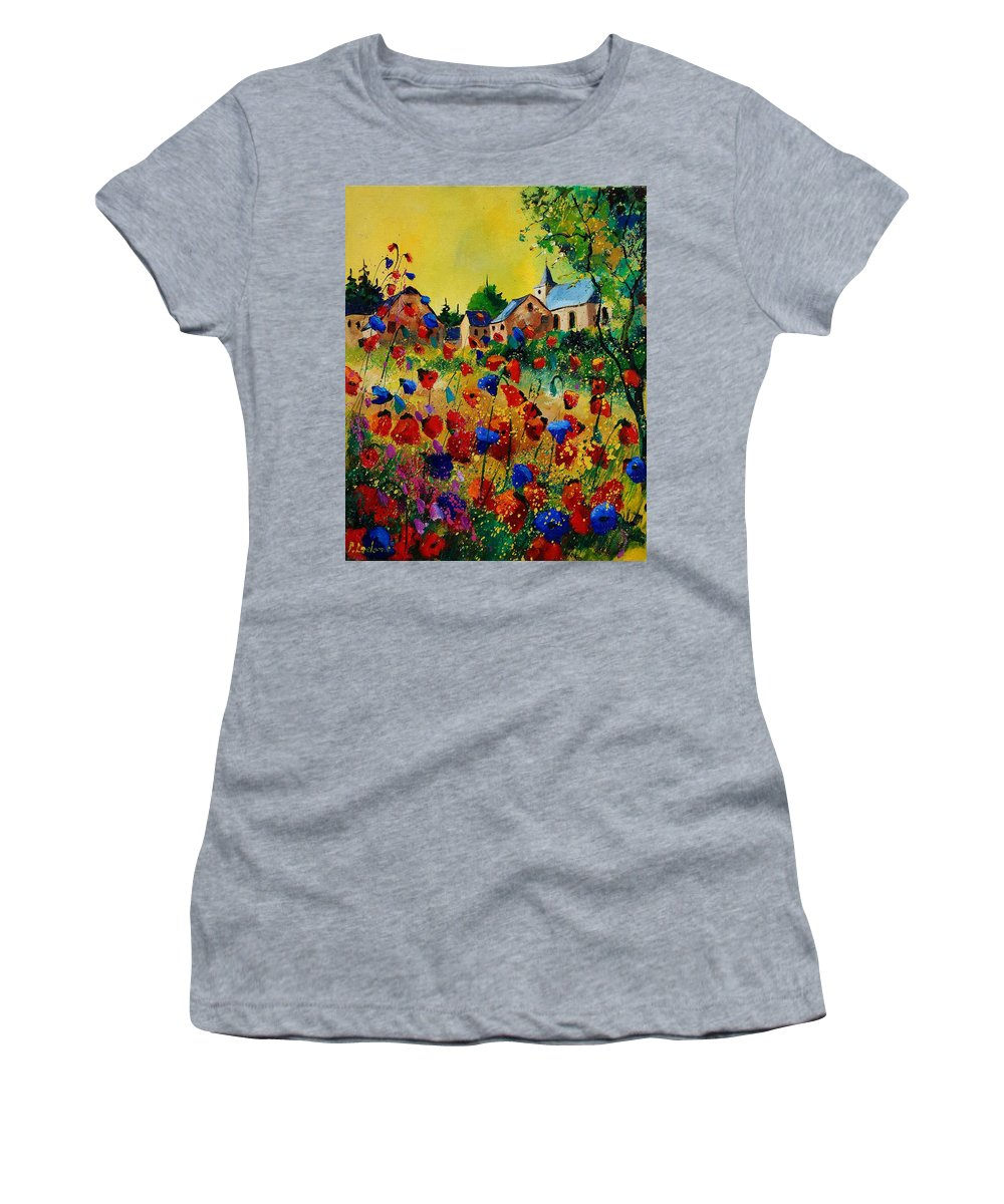 Flowers Women's T-Shirt featuring the painting Poppies Sosoye by Pol Ledent