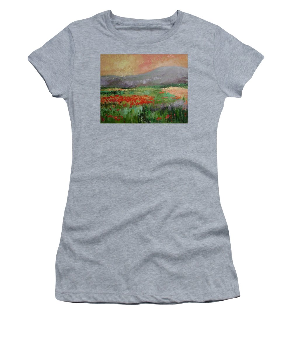 Poppies Women's T-Shirt (Athletic Fit) featuring the painting Poppyfield by Ginger Concepcion