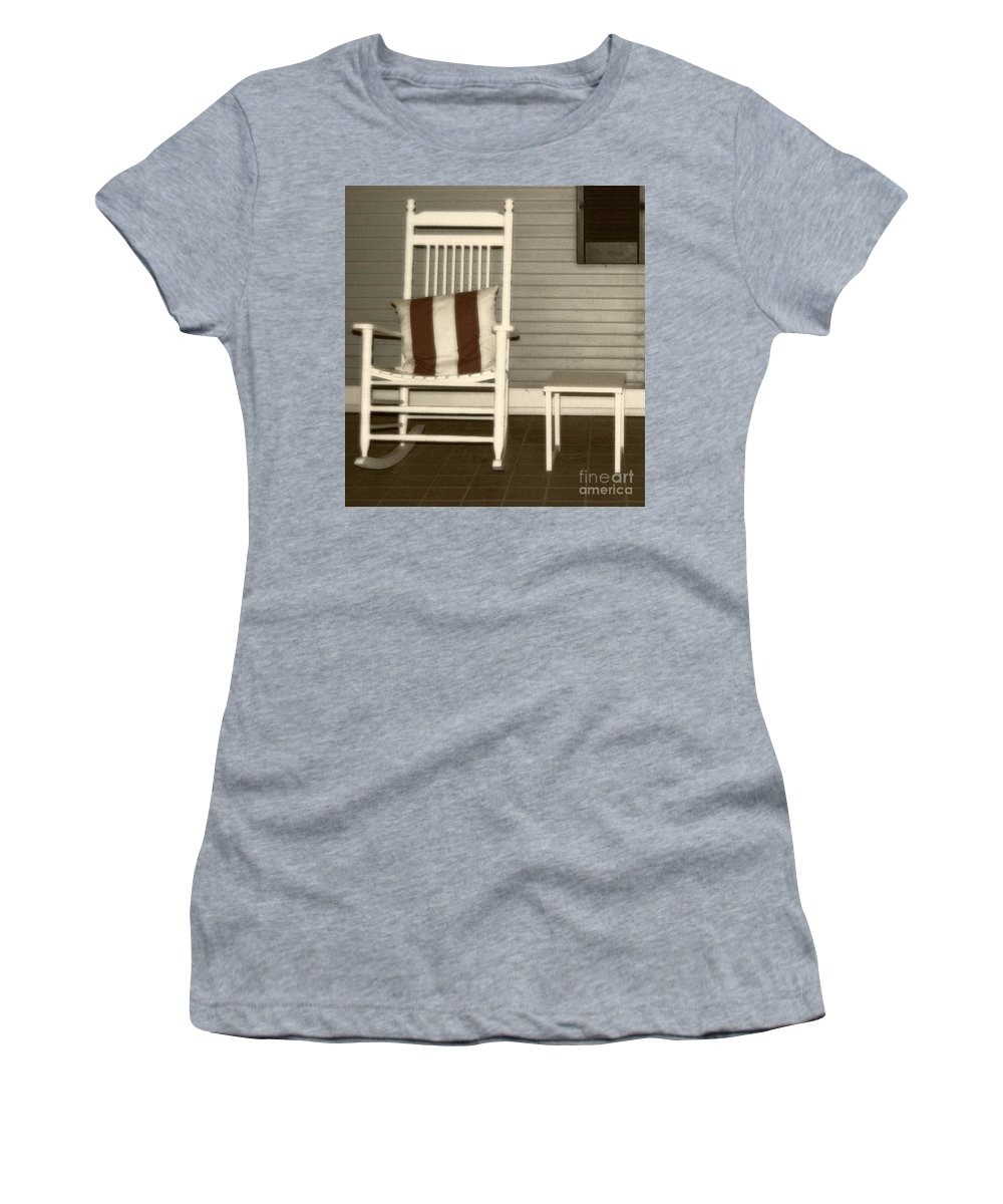 Rocking Chair Women's T-Shirt (Athletic Fit) featuring the photograph Porch Rocker by Debbi Granruth