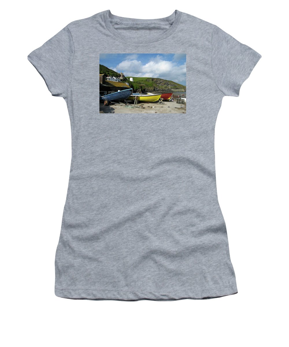 Port Isaac Women's T-Shirt featuring the photograph Port Isaac Boats by Kurt Van Wagner