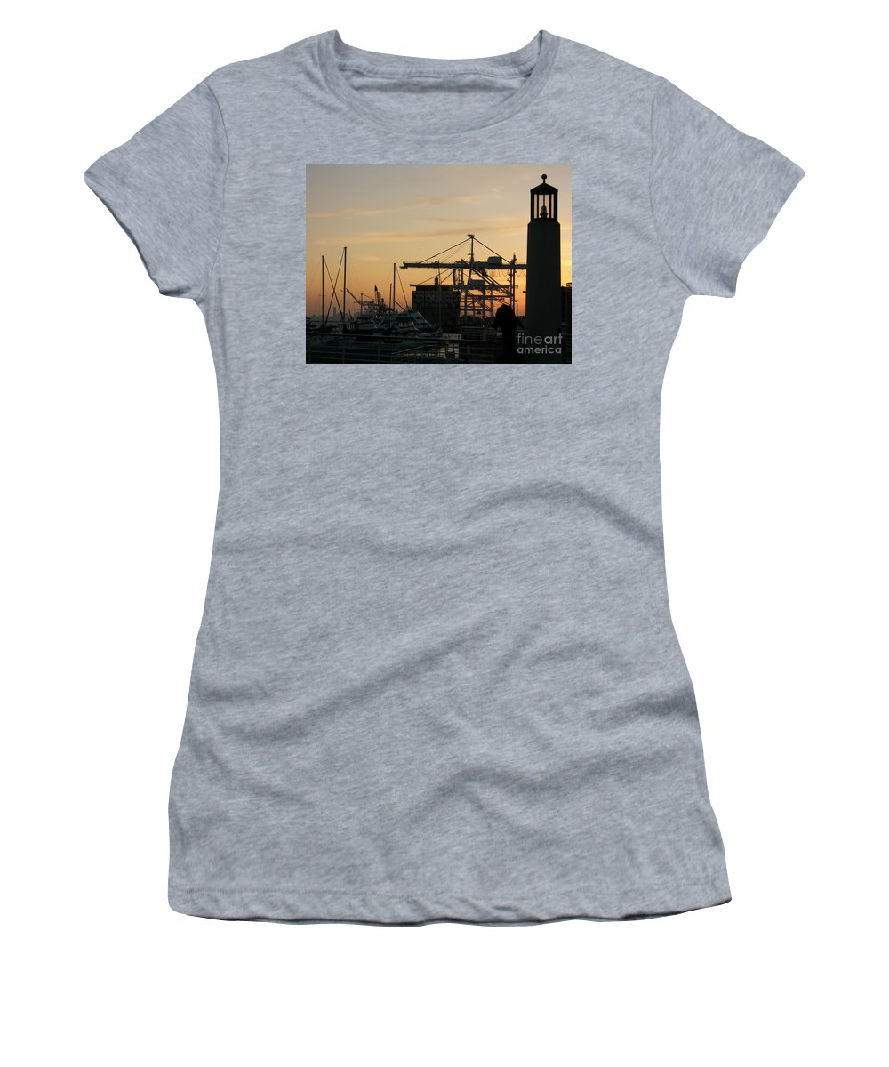 Oakland Women's T-Shirt (Athletic Fit) featuring the photograph Port Of Oakland Sunset by Carol Groenen