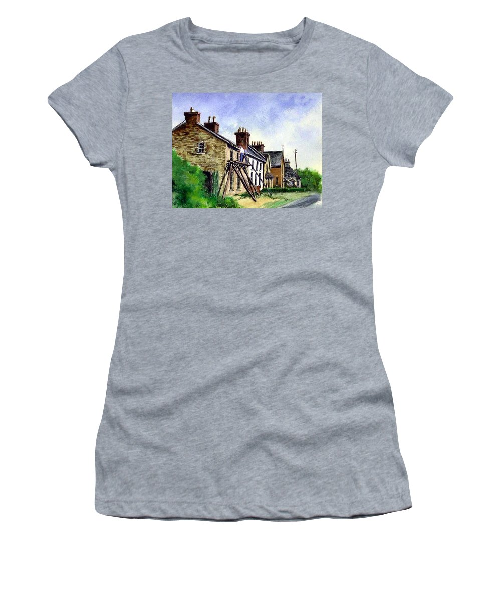 Water Color Women's T-Shirt (Athletic Fit) featuring the painting Port Rush Gutter Repair by Jim Gola