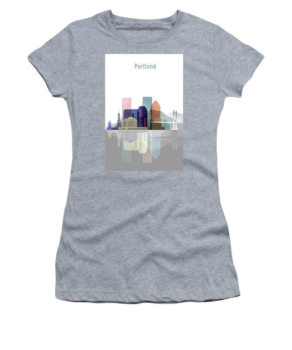 Portland Women's T-Shirt (Athletic Fit) featuring the digital art Portland Skyline by Dim Dom
