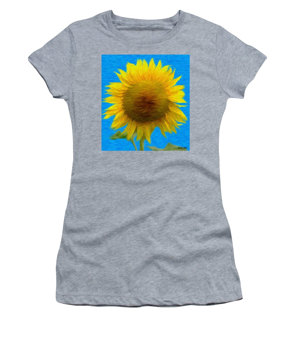 Blue Women's T-Shirt (Athletic Fit) featuring the painting Portrait Of A Sunflower by Jeffrey Kolker