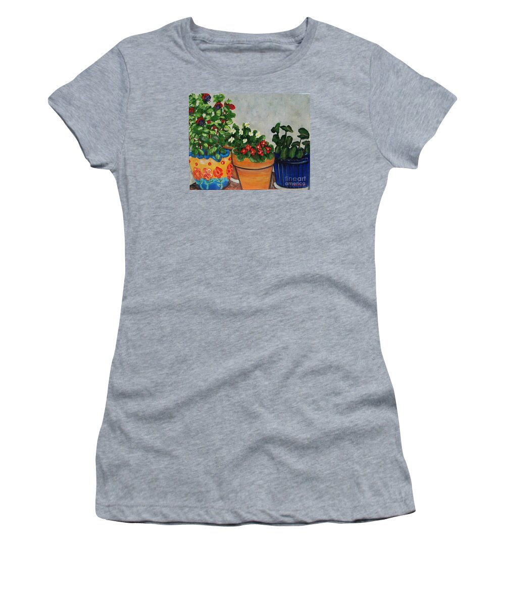Ceramic Pots Women's T-Shirt (Athletic Fit) featuring the painting Pots Showing Off by Laurie Morgan