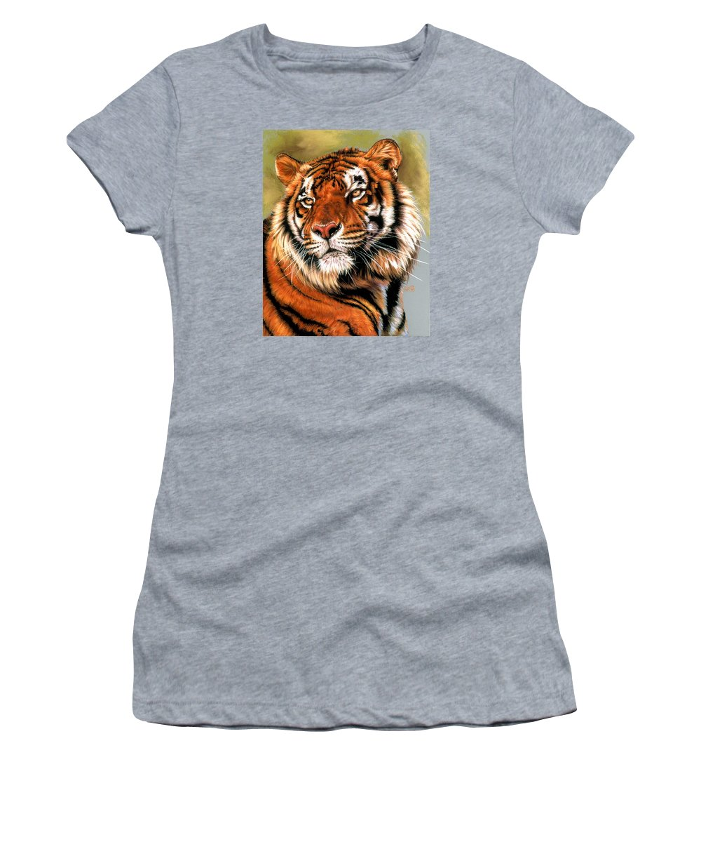 Tiger Women's T-Shirt featuring the pastel Power and Grace by Barbara Keith