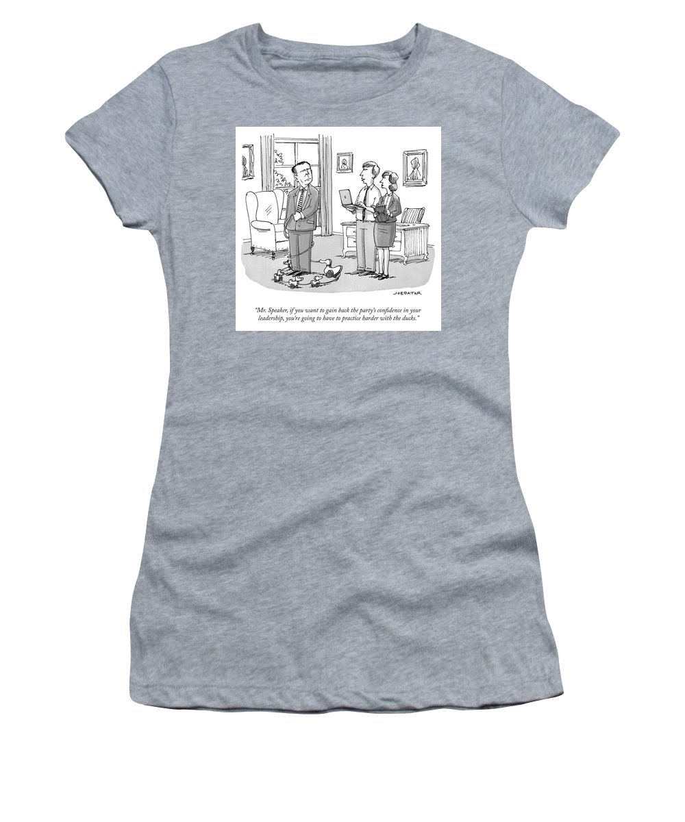"""mr. Speaker Women's T-Shirt (Athletic Fit) featuring the drawing Practice Harder With The Ducks by Joe Dator"