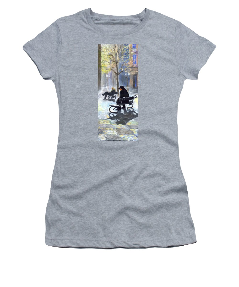 Prague Women's T-Shirt (Athletic Fit) featuring the painting Prague Autumn Ray by Yuriy Shevchuk