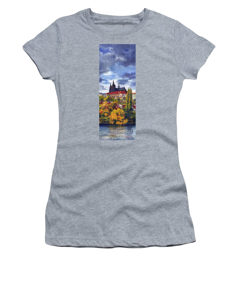Prague Women's T-Shirt (Athletic Fit) featuring the painting Prague Castle With The Vltava River by Yuriy Shevchuk