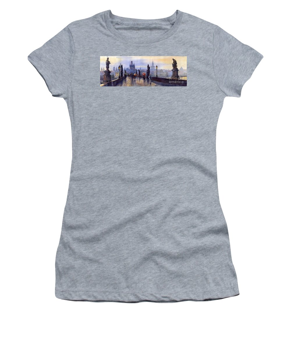 Cityscape Women's T-Shirt (Athletic Fit) featuring the painting Prague Charles Bridge by Yuriy Shevchuk