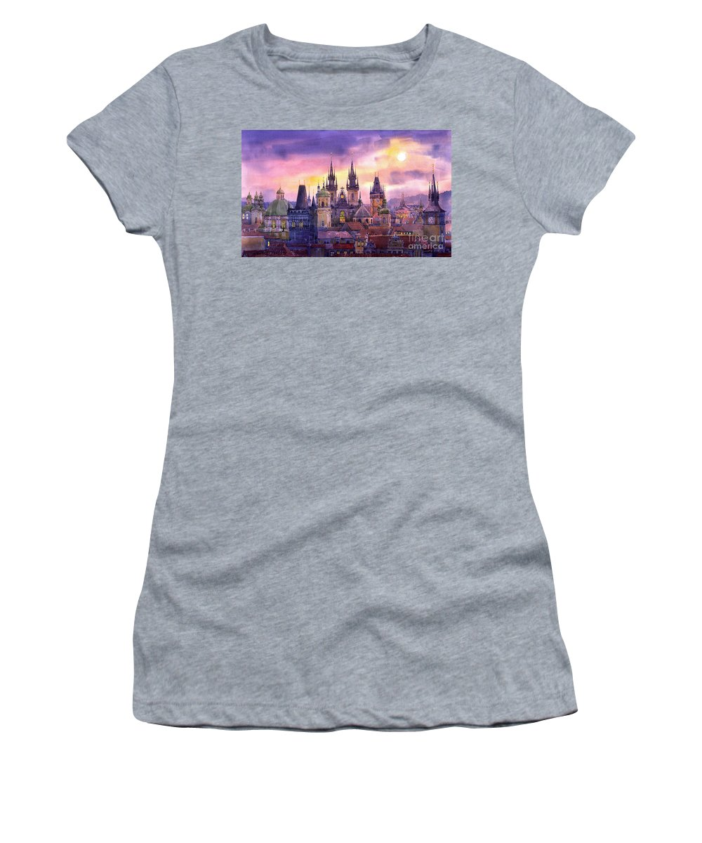 Architecture Women's T-Shirt featuring the painting Prague City Of Hundres Spiers Variant by Yuriy Shevchuk