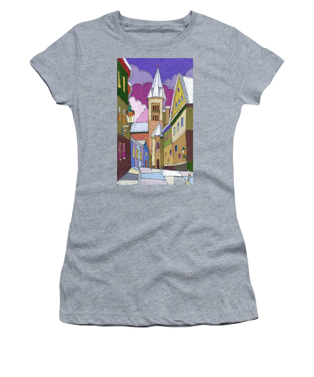 Pastel Women's T-Shirt (Athletic Fit) featuring the painting Prague Old Street Jilska Winter by Yuriy Shevchuk