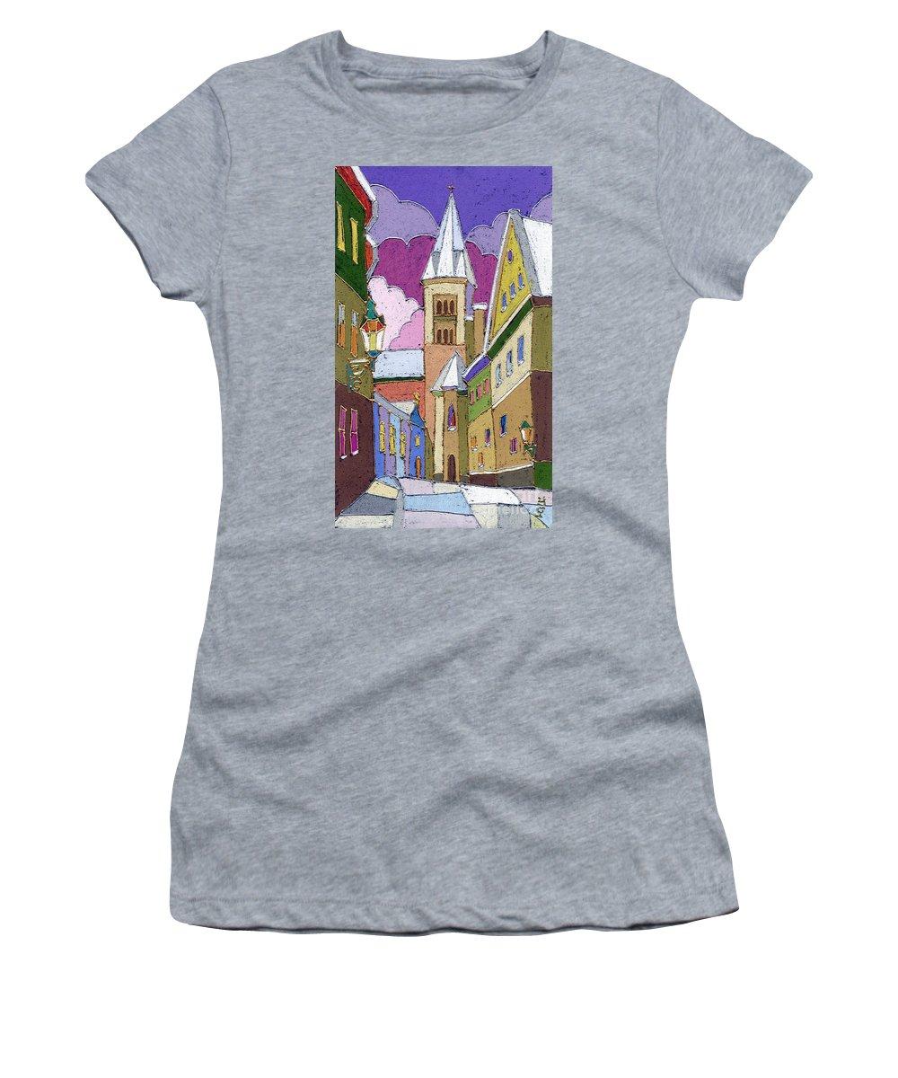Pastel Women's T-Shirt featuring the painting Prague Old Street Jilska Winter by Yuriy Shevchuk