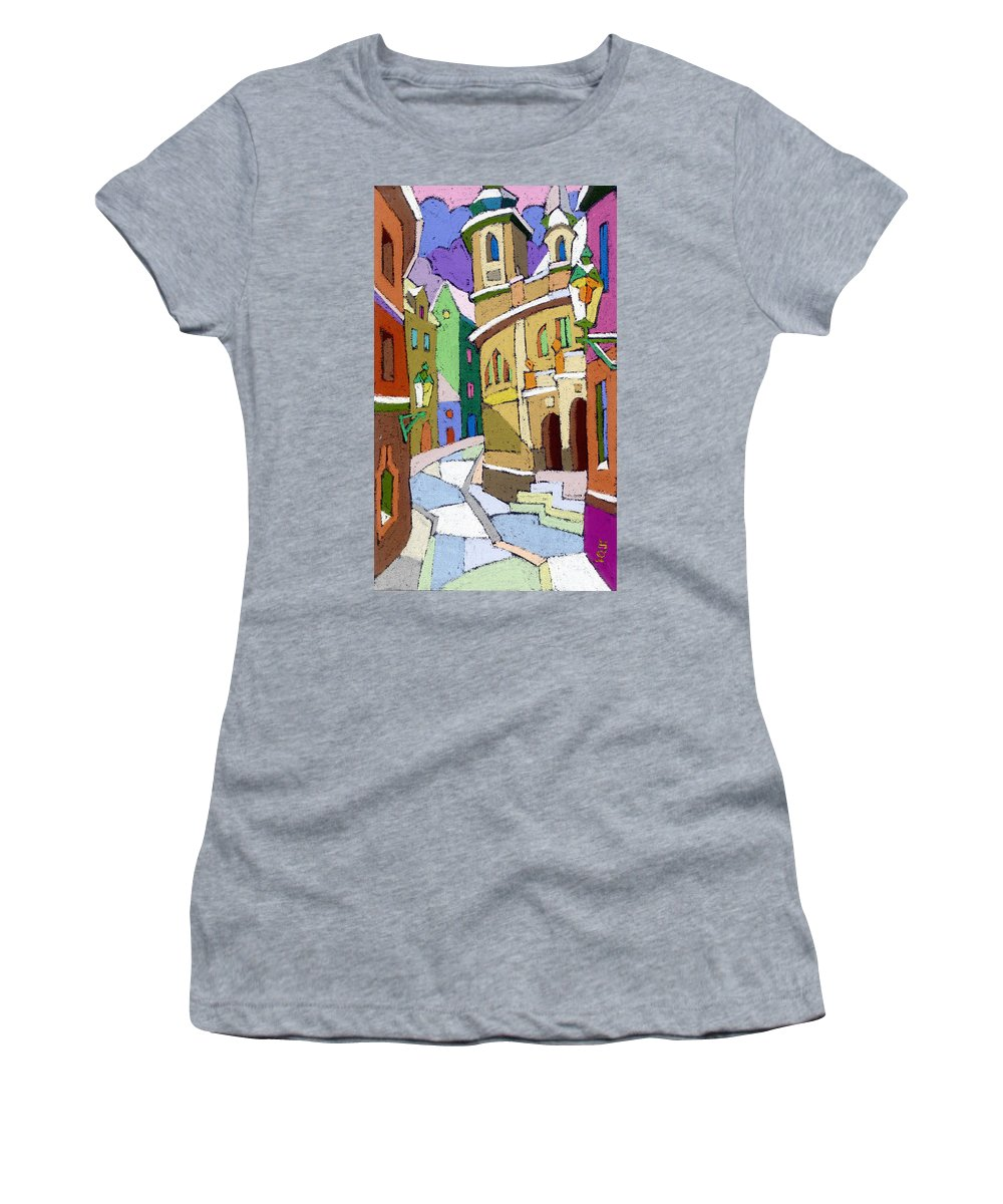 Pastel Women's T-Shirt (Athletic Fit) featuring the painting Prague Old Street Karlova Winter by Yuriy Shevchuk