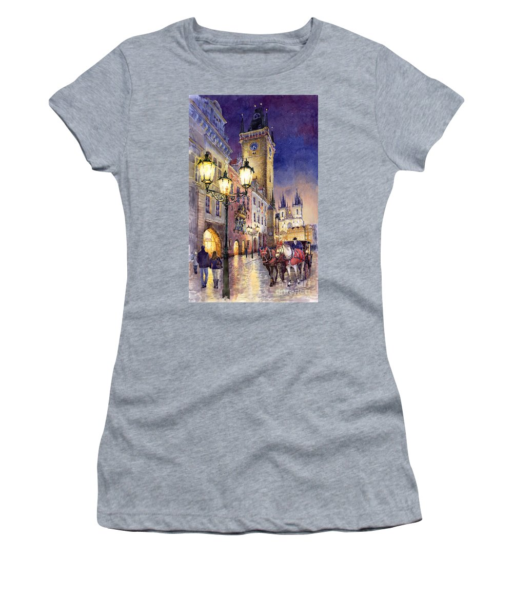 Cityscape Women's T-Shirt featuring the painting Prague Old Town Square 3 by Yuriy Shevchuk