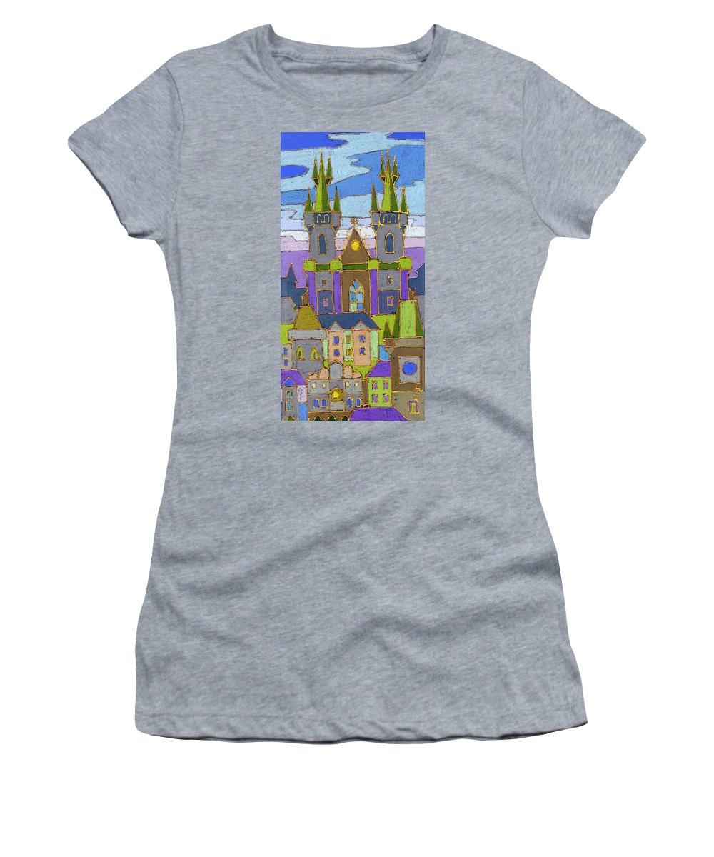Pastel Women's T-Shirt featuring the painting Prague Panorama by Yuriy Shevchuk