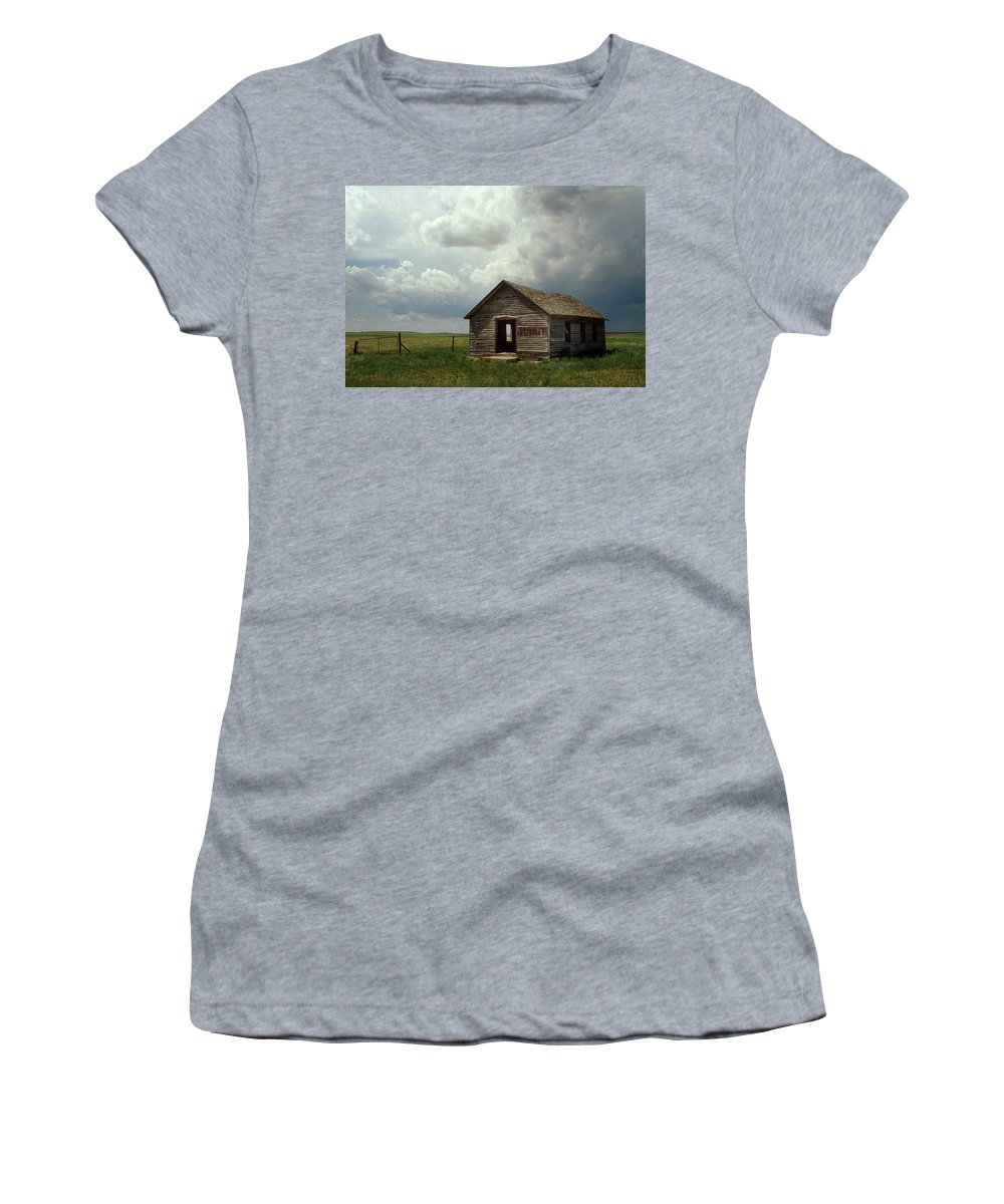 Nebraska Women's T-Shirt (Athletic Fit) featuring the photograph Prairie Church by Jerry McElroy