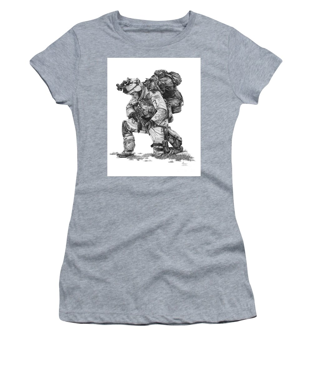 Pencil Women's T-Shirt (Athletic Fit) featuring the drawing Praying Soldier by Murphy Elliott