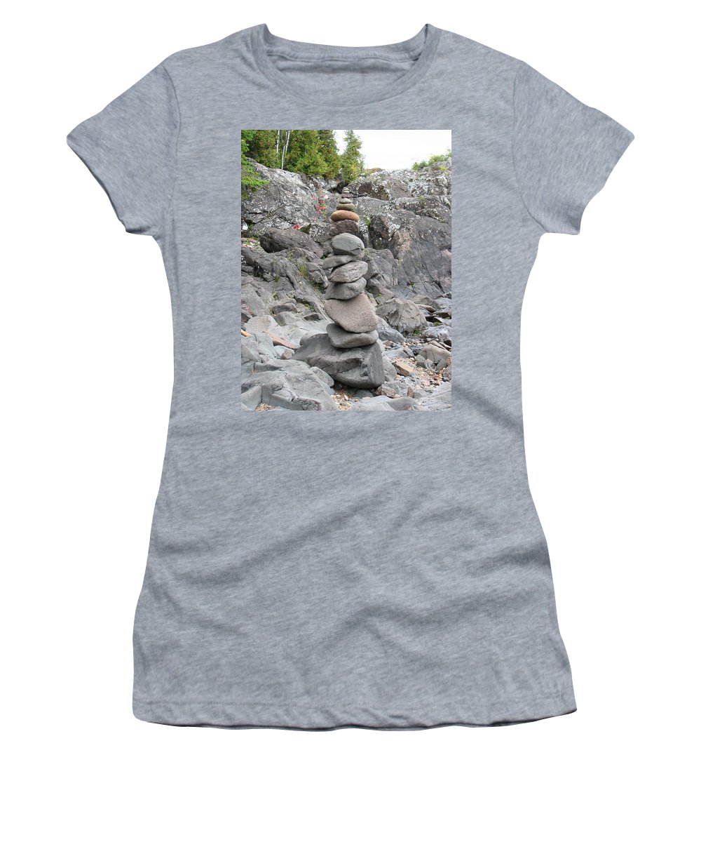 Stones Women's T-Shirt (Athletic Fit) featuring the photograph Precarious by Kelly Mezzapelle