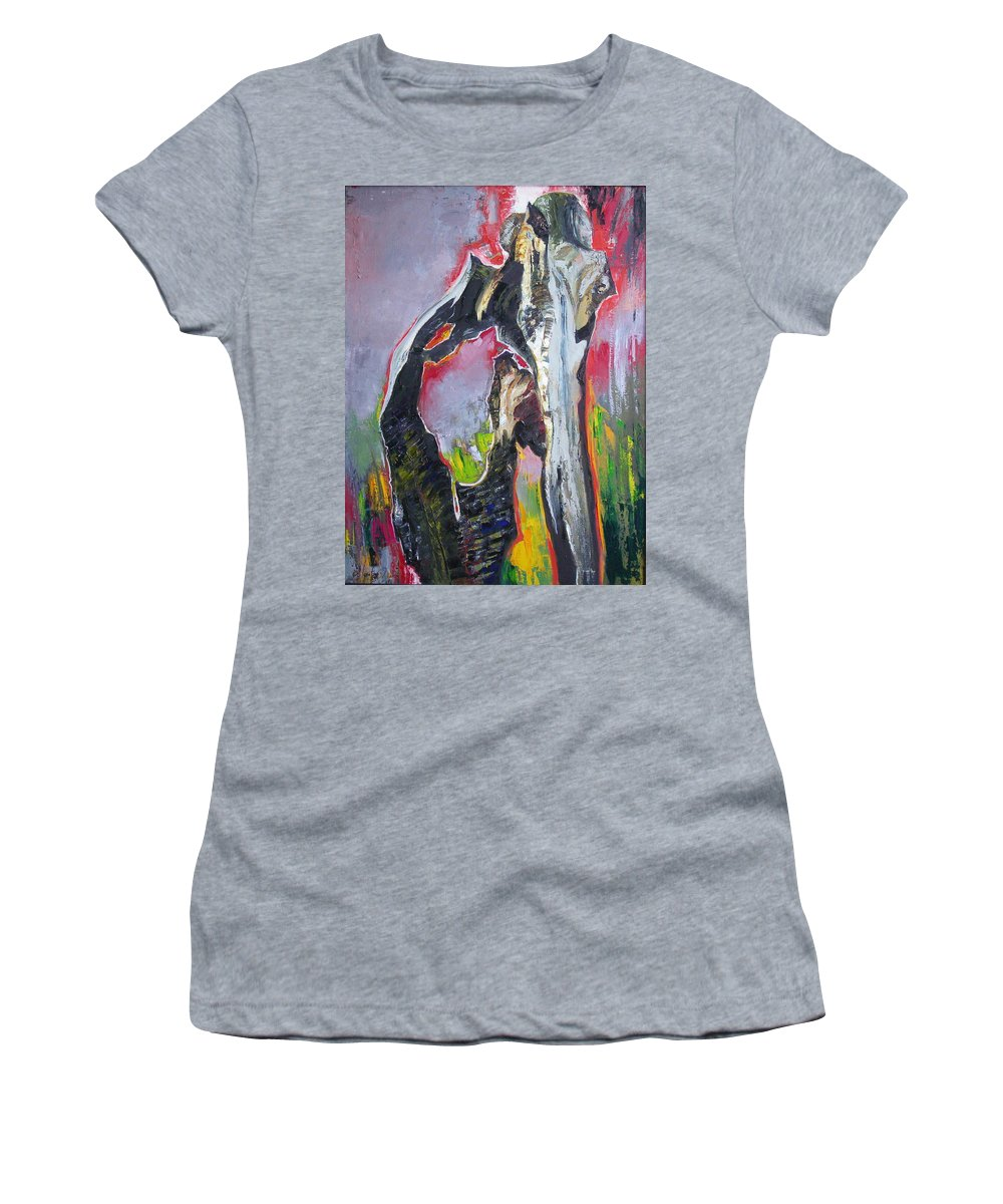 Oil Women's T-Shirt (Athletic Fit) featuring the painting Presentiment by Sergey Ignatenko