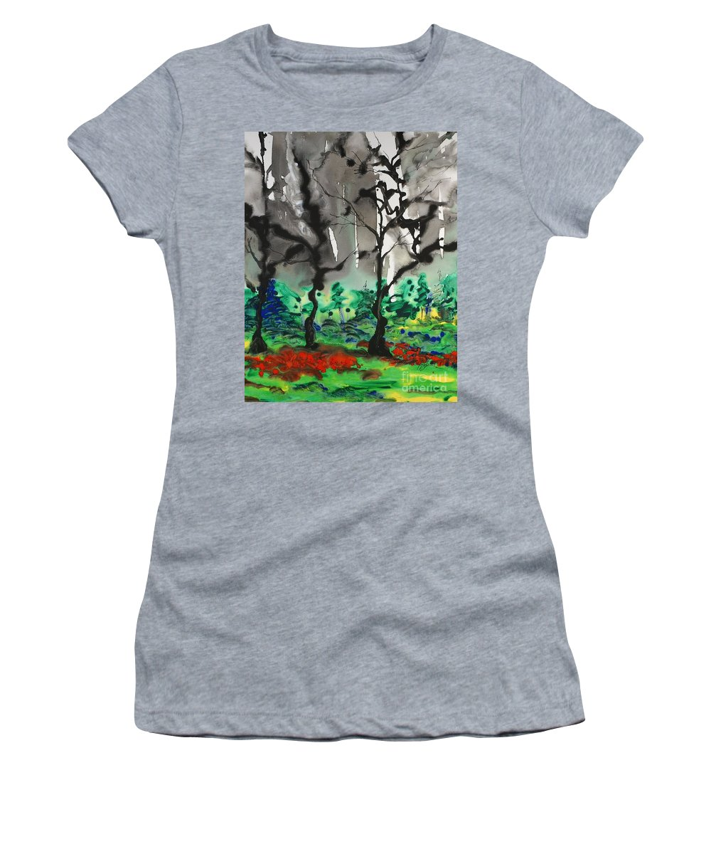 Forest Women's T-Shirt featuring the painting Primary Forest by Nadine Rippelmeyer