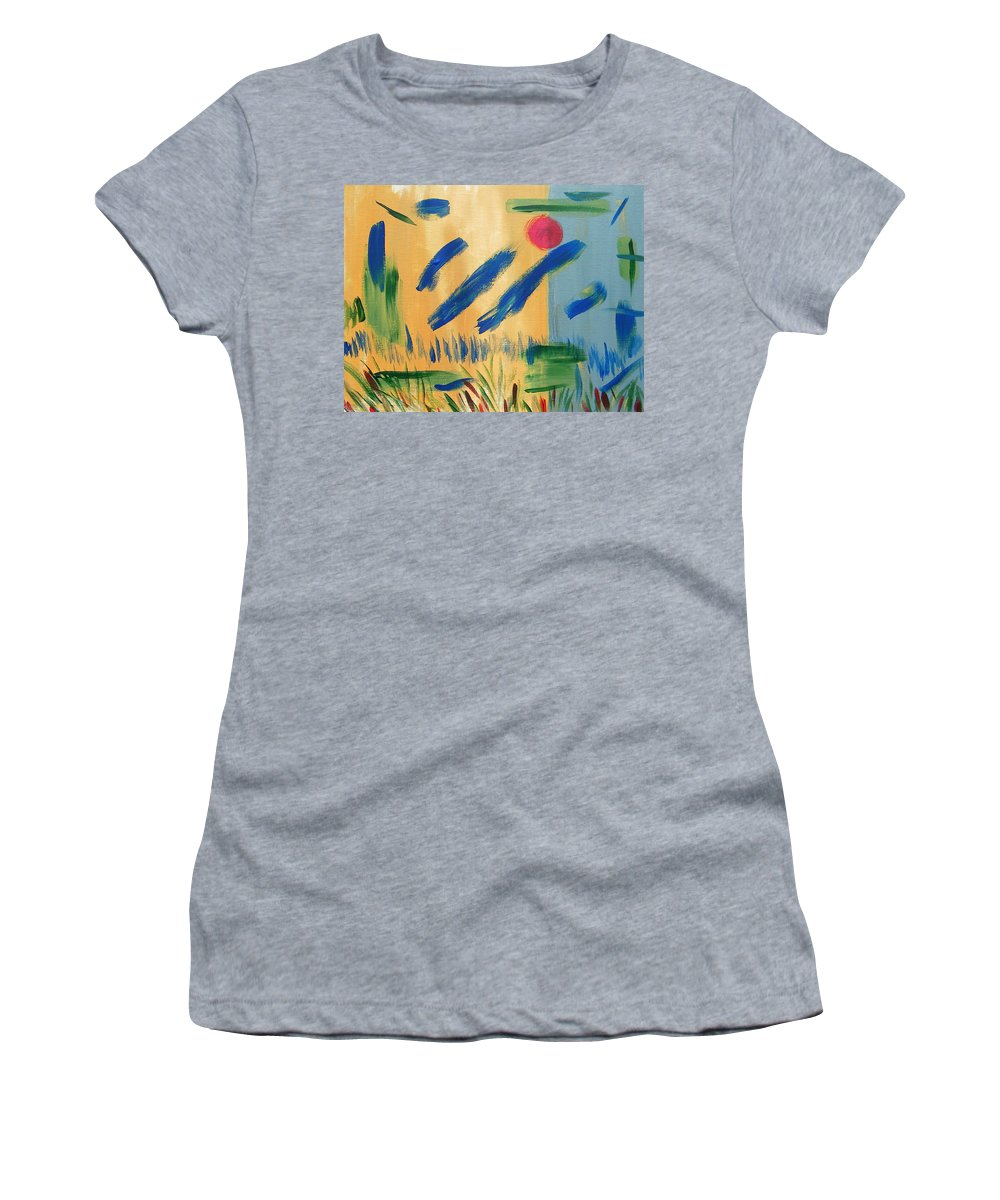 Abstract Women's T-Shirt (Athletic Fit) featuring the painting Primitive Paradise by Lenore Senior