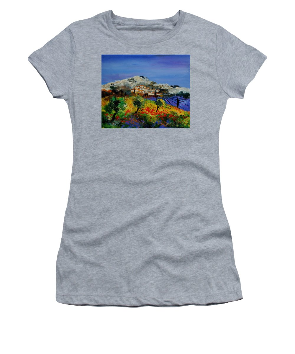 Provence Women's T-Shirt (Athletic Fit) featuring the painting Provence 569010 by Pol Ledent
