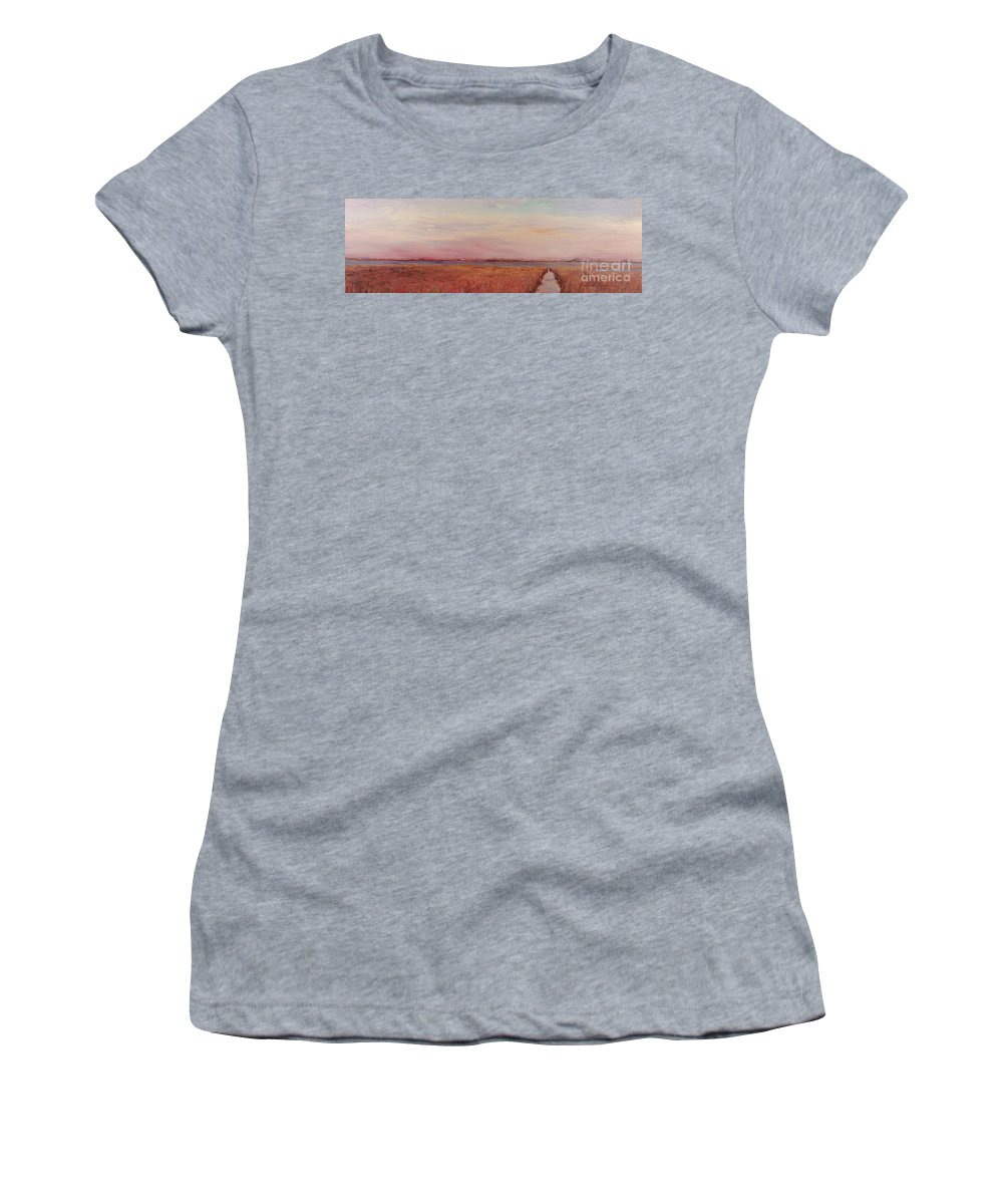 Landscape Women's T-Shirt featuring the painting Provence Camargue by Nadine Rippelmeyer