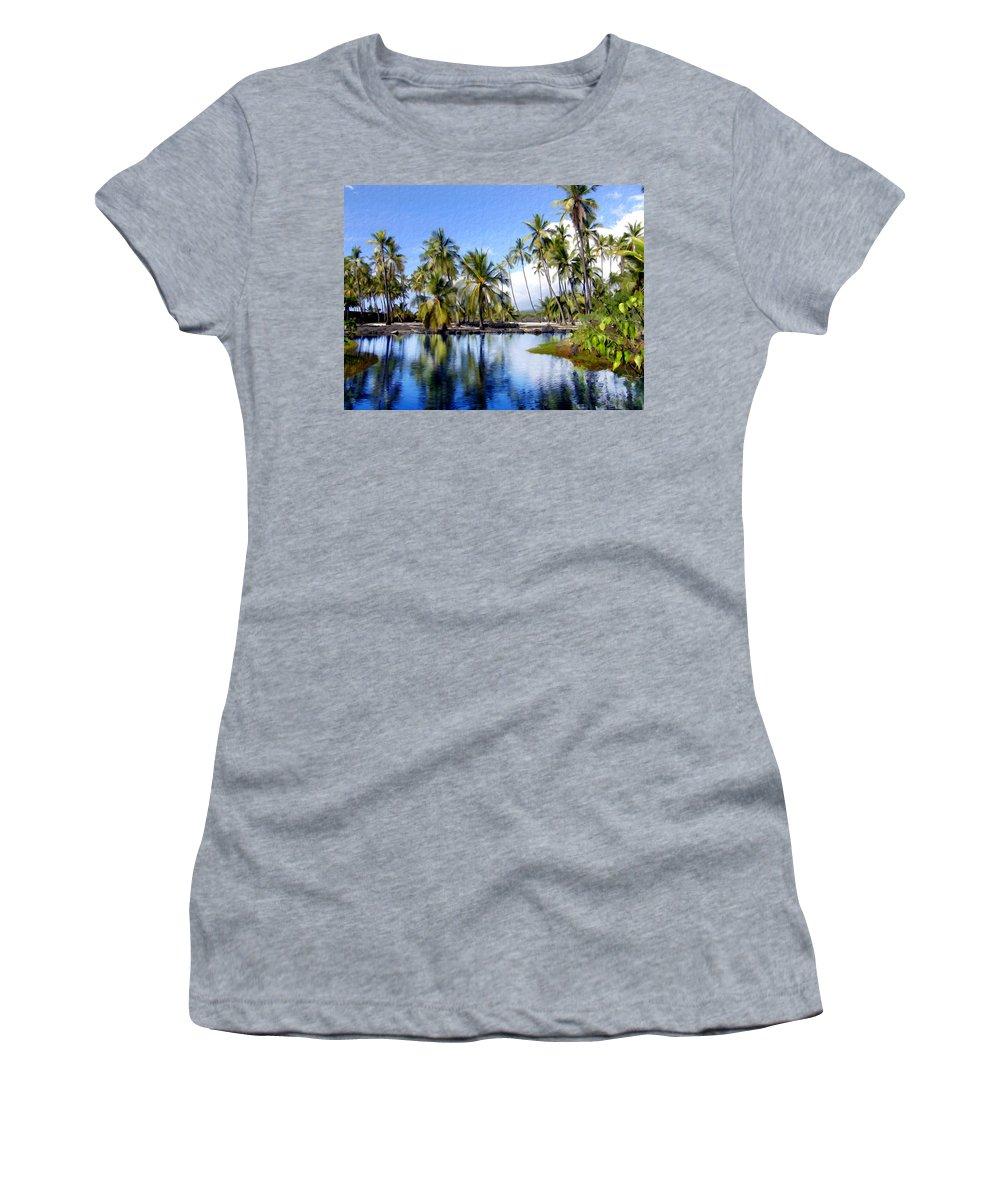Hawaii Women's T-Shirt (Athletic Fit) featuring the photograph Pu Uhonua O Honaunau Pond by Kurt Van Wagner