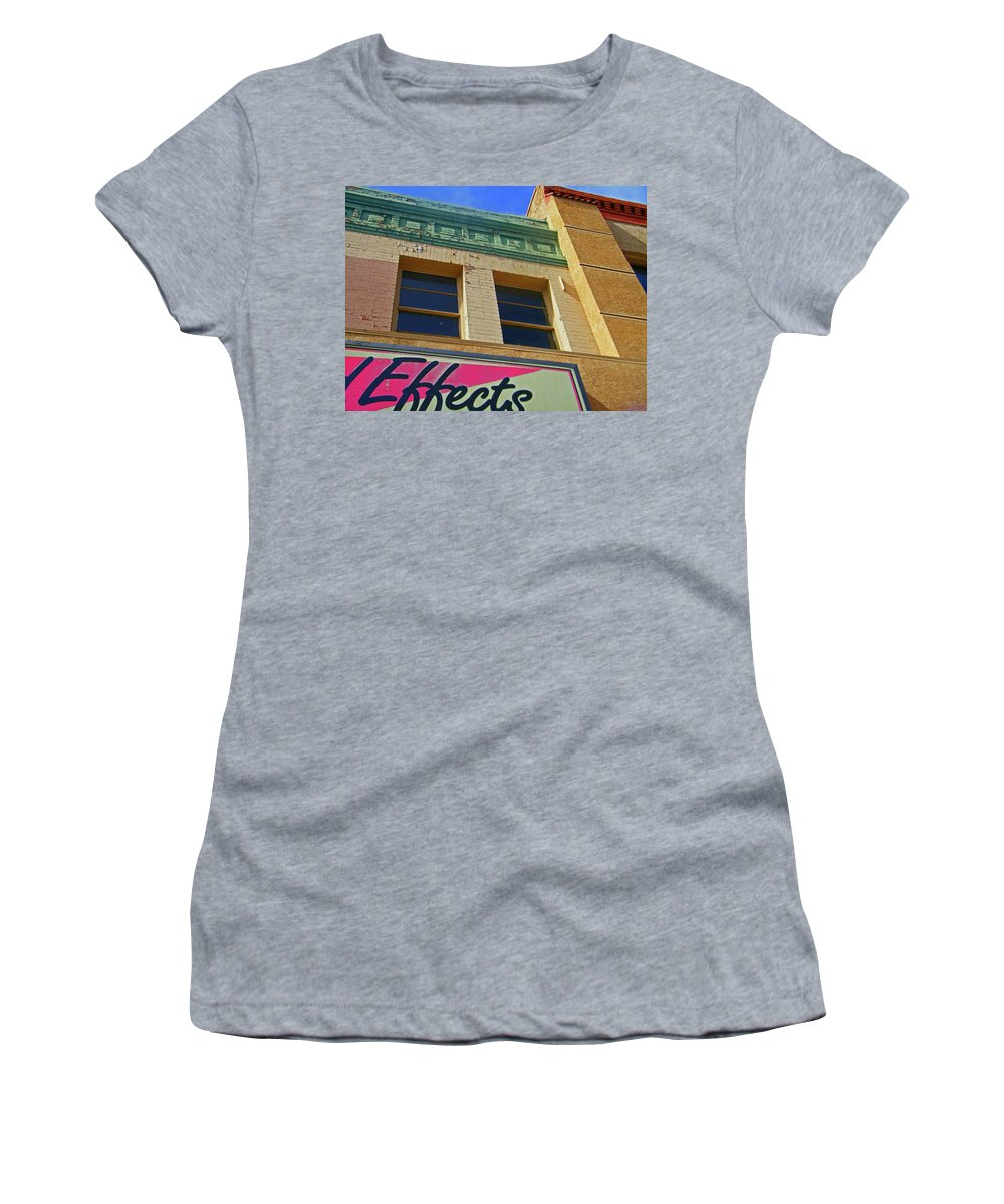 Abstract Women's T-Shirt (Athletic Fit) featuring the photograph Pueblo Downtown-screened Effects by Lenore Senior