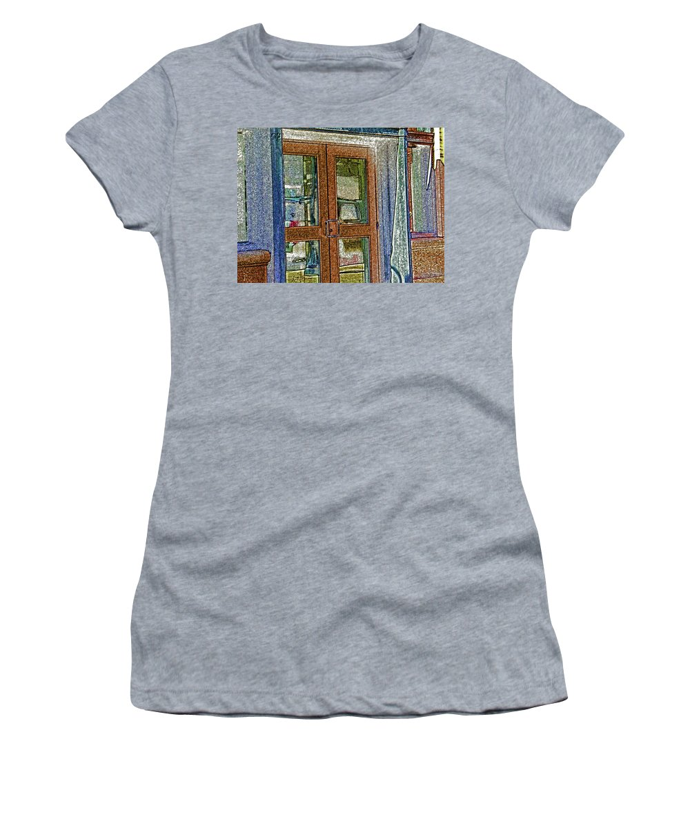 Abstract Women's T-Shirt (Athletic Fit) featuring the digital art Pueblo Downtown--thatcher Building Door by Lenore Senior