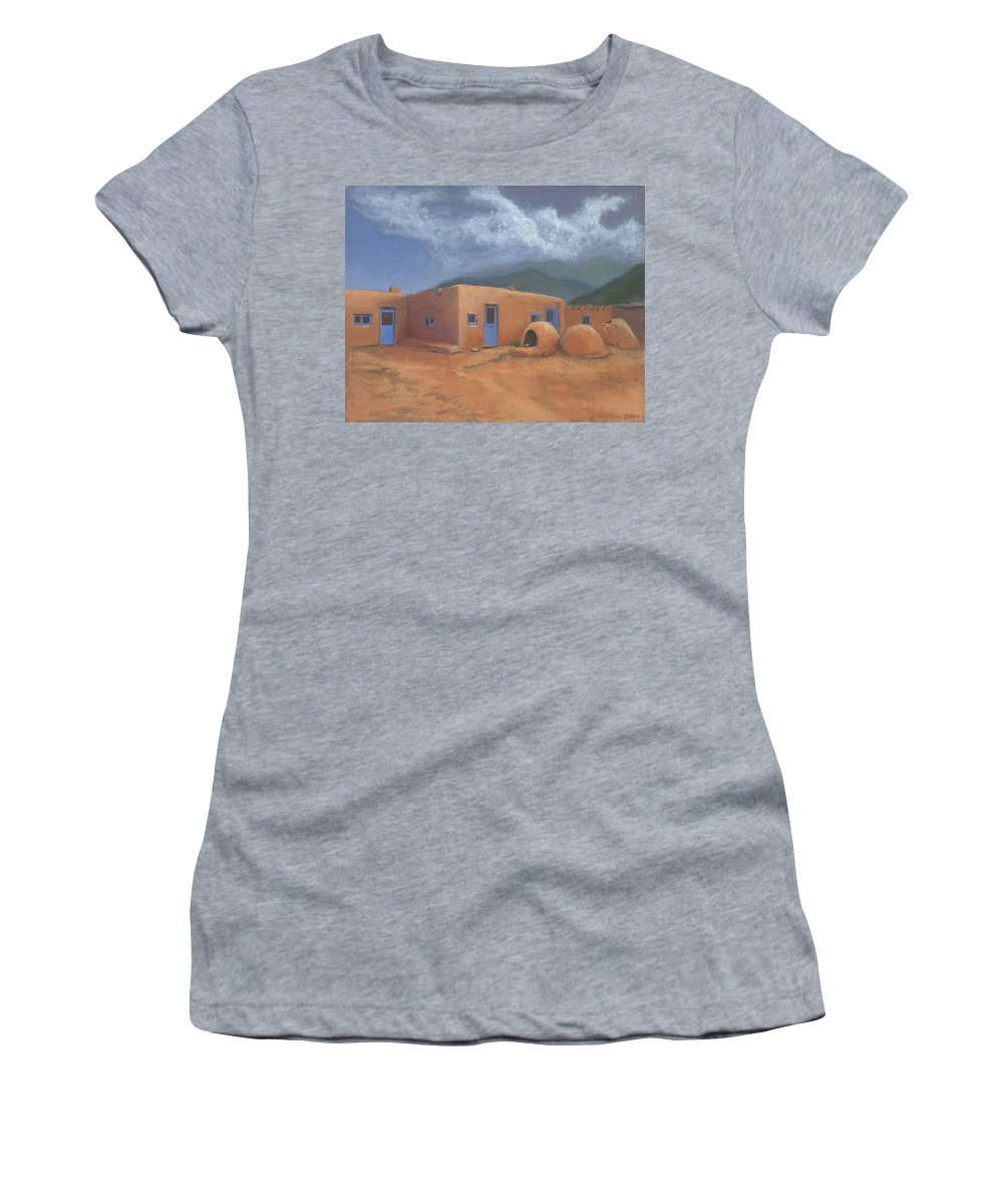 Taos Women's T-Shirt (Athletic Fit) featuring the painting Puertas Azul by Jerry McElroy