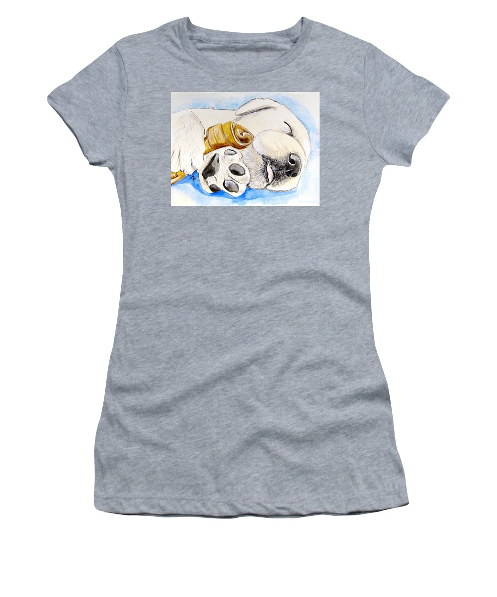 Labrador Retriever Painting Women's T-Shirt featuring the painting Puppy Dreams by Carol Blackhurst