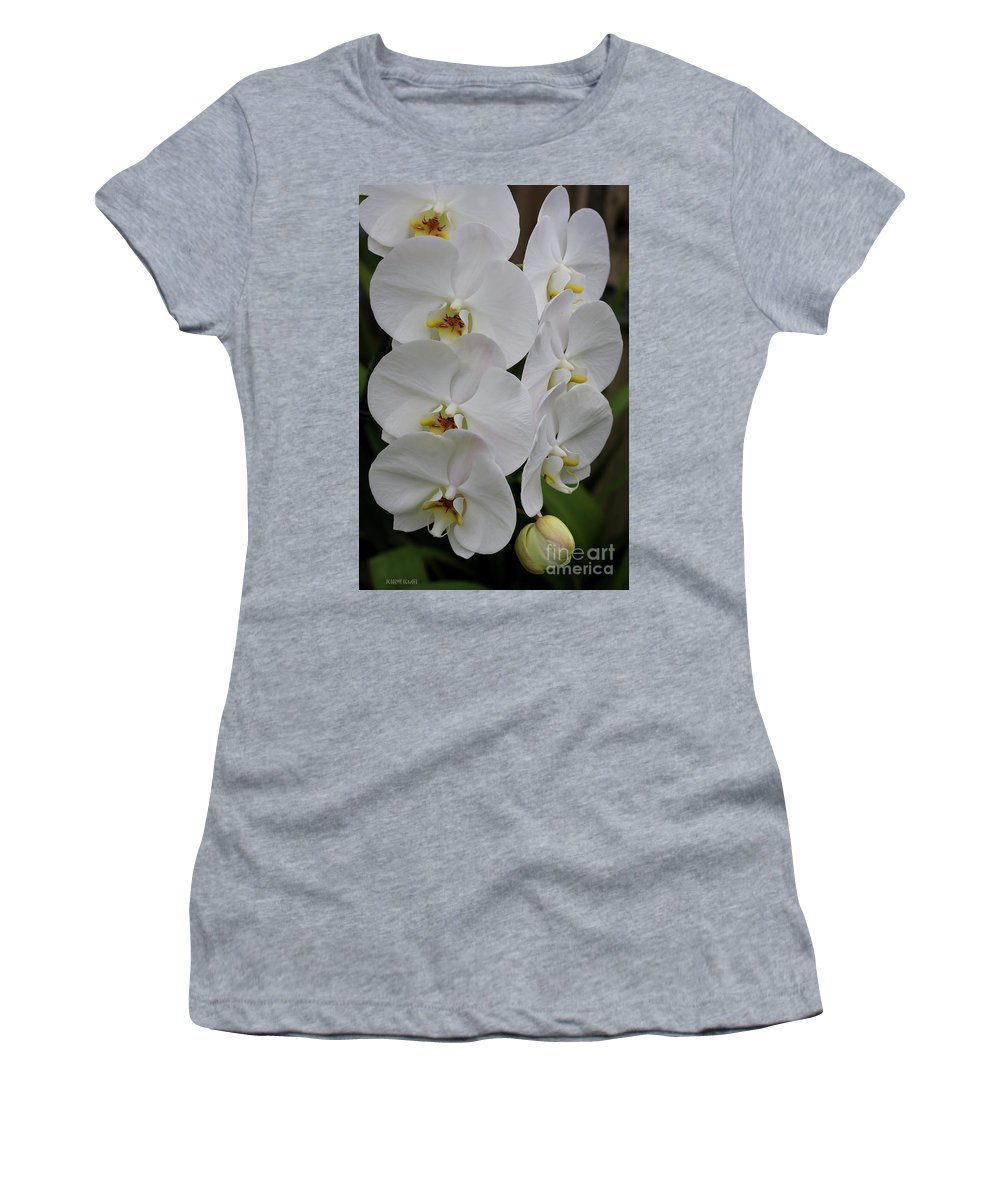 Orchids Women's T-Shirt (Athletic Fit) featuring the photograph Purity by Deborah Benoit