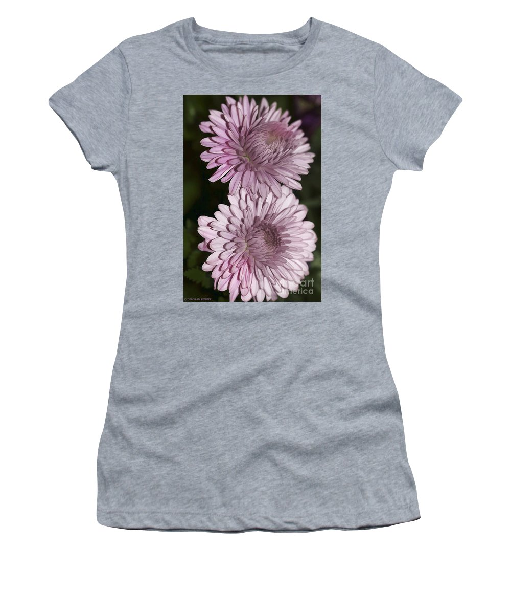 Flowers Women's T-Shirt featuring the photograph Purple Duo by Deborah Benoit
