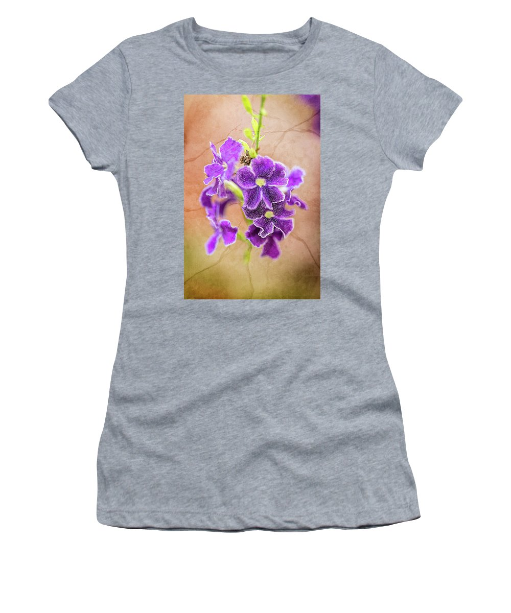 Perfume Women's T-Shirt (Athletic Fit) featuring the digital art Purple Flower by Louloua Asgaraly
