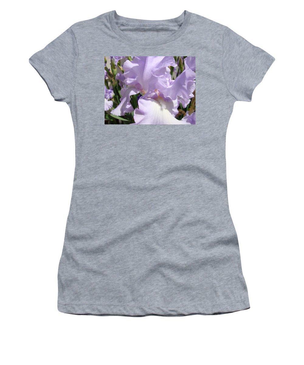 �irises Artwork� Women's T-Shirt (Athletic Fit) featuring the photograph Purple Irises Artwork Lavender Iris Flowers 13 Botanical Floral Art Baslee Troutman by Baslee Troutman
