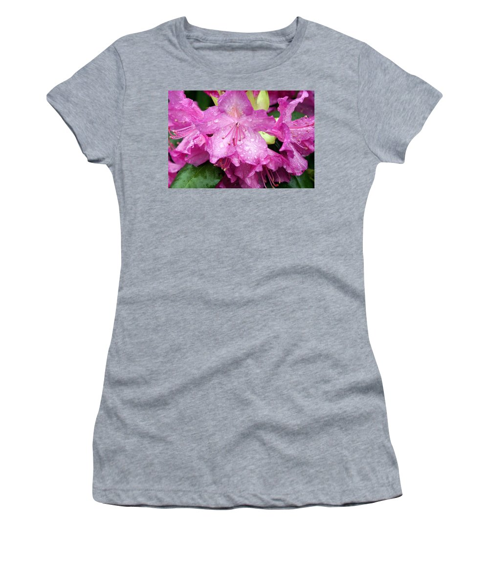 Flowers Women's T-Shirt (Athletic Fit) featuring the photograph Purple Pink Horizontal by Marty Koch